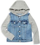 Pinc Premium Girl's Faux Pearl Hooded Denim Jacket