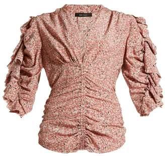 Isabel Marant Andora Ruffled Silk-blend Crepe Blouse - Womens - Light Pink