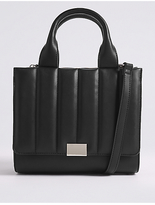 M&S Collection Faux Leather Quilted 3 Part Tote Bag