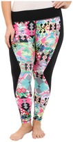 Pink Lotus Plus Size Hawaii Tribe Contrast Performance Leggings