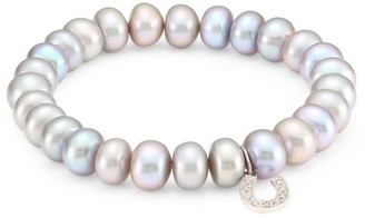 Sydney Evan Medium Diamond, Faux Pearl & 14K White Gold Beaded Horseshoe Bracelet