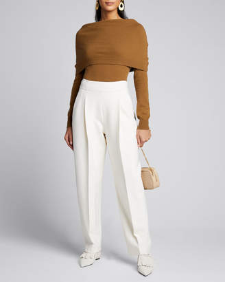 Oscar de la Renta Fold Over Off-the-Shoulder Long-Sleeve Cashmere Sweater