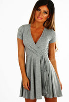 Pink Boutique Cute and Casual Grey Jersey Wrap Skater Dress