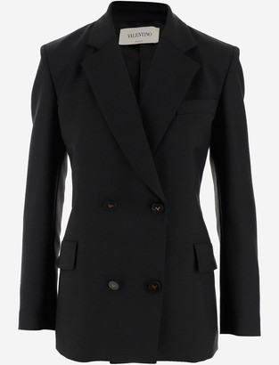 Valentino Black Wool Double-breasted Women's Blazer
