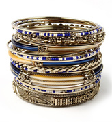Amrita Singh Blue & Goldtone Monte Carlo Bangle Set
