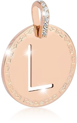 Rebecca Rose Gold-plated Bronze & Zirconia L Charm W/Rhodium-plated Necklace