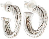 David Yurman Diamond Extra-Small Crossover Hoop Earrings