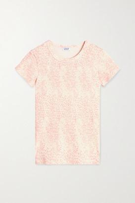 Leset Jamie Leopard-print Ribbed Stretch-modal T-shirt - Blush