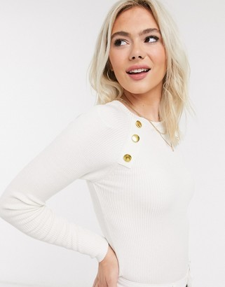 Brave Soul sandy jumper with gold buttons