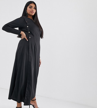 Verona Curve long sleeved maxi dress with button detail in black