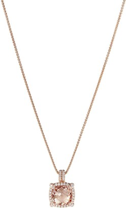 David Yurman 18kt rose gold Chatelaine diamond and morganite pendant necklace