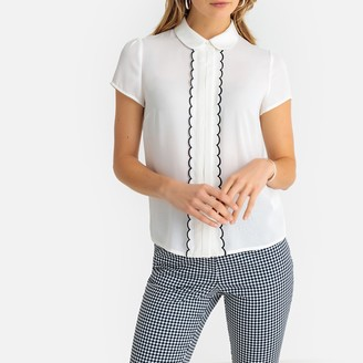 Anne Weyburn Peter Pan Collar Blouse with Ruffled Braided Trim and Short Sleeves