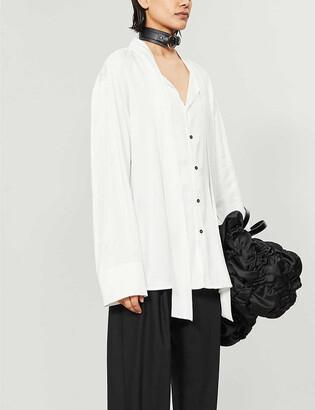 Daniel Pollitt Band-collar oversized cotton shirt