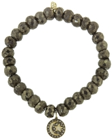 Sydney Evan Pavé Moon And Star Charm On Pyrite Beaded Bracelet