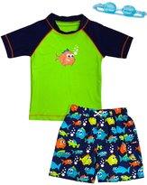Jump N Splash Boy's Piranha Party TwoPiece Rashguard Set w/ Free Goggles (2t-7yrs) - 8143084