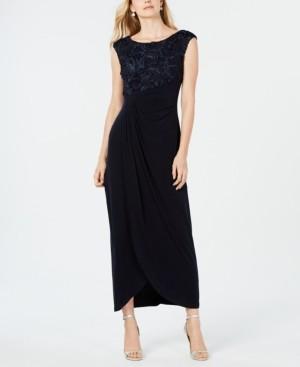 Connected Petite Soutache Faux-Wrap Gown