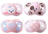 Razbaby Keep-It-Kleen Pacifiers - Pack of 4 (Rosa Penguin, Pink Percy Puppy, Betty Butterfly, Pink Polka Dots)