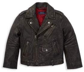 Ralph Lauren Little Boy's& Boy's Leather Moto Jacket - Black - Size Small (8)