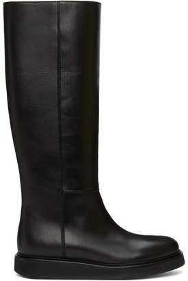 LEGRES Black Leather Wedge Riding Boots