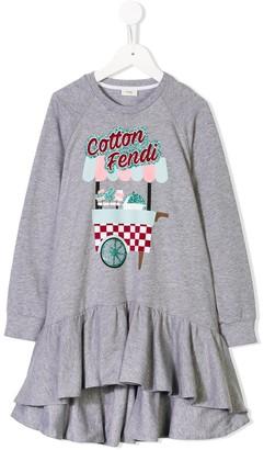Fendi Kids Cotton Fendi sweatshirt dress