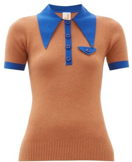 JoosTricot Oversized Collar Cotton Blend Polo Shirt - Womens - Brown