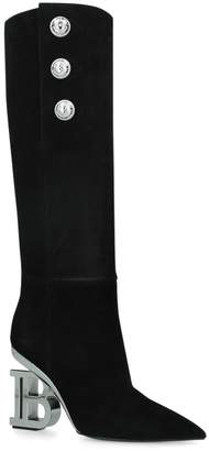 Balmain Suede Nelly High Boots 95