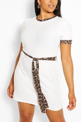 boohoo Plus Leopard Contrast Self-Belted T-Shirt Dress