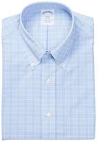 Brooks Brothers Light Blue Plaid Long Sleeve Regent Classic Fit Shirt