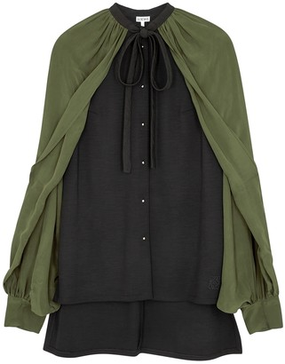 Loewe Black cape-effect wool-blend blouse
