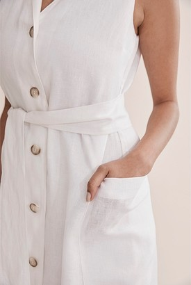 Country Road Linen Button Front Maxi Dress