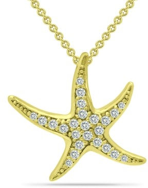 "Giani Bernini Cubic Zirconia Starfish Pendant Necklace in 18k Gold-Plated Sterling Silver, 16"" + 2"" extender, Created for Macy's"