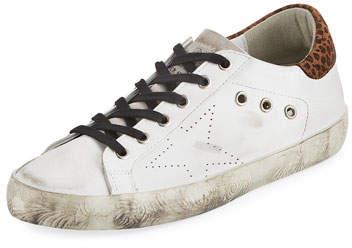 Golden Goose Superstar Leopard Distressed Sneakers