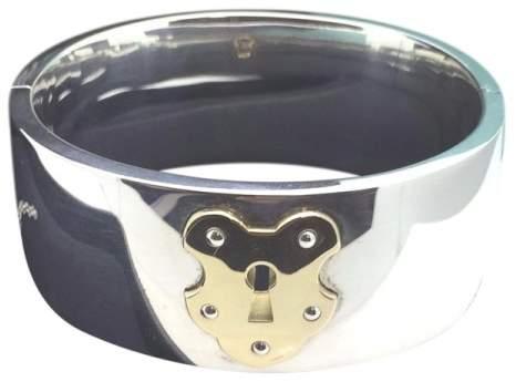 Tiffany & Co. 925 Sterling Silver & 18K Yelllow Gold Lock Hinged Bangle