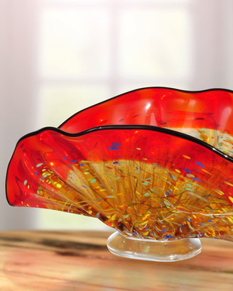 Dale Tiffany Indiana Shell Hand-Blown Art Glass Vase