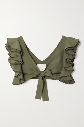 ARTCLUB - Le Cercle Cropped Ruffled Cotton And Silk-blend Faille Top - Army green