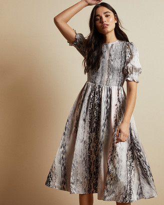 Ted Baker HALOMAH Snake print midi dress