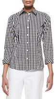 Lafayette 148 New York Janessa 3/4-Sleeve Gingham Blouse