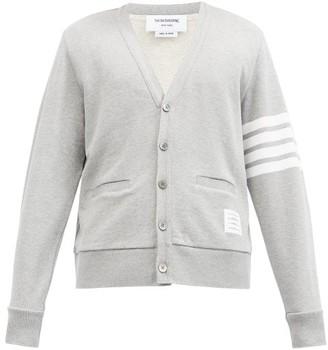 Thom Browne Four-bar Cotton-jersey Cardigan - Light Grey