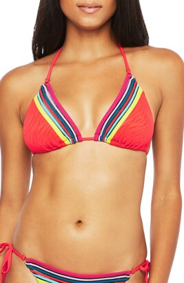 Trina Turk Stripe Trim Zebra Triangle Bikini Top