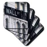 3drose Wall Street Ceramic Tile Coaster, Set of 4