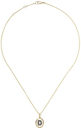 Annoushka 18kt yellow gold diamond initial D necklace