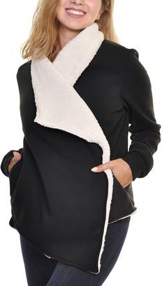 Angelina Women's Cardigans Black - Black Sherpa Wrap Open Cardigan - Women