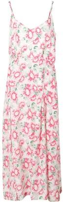 Les Rêveries Floral Print Slit Silk Dress