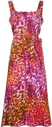 Natori Leopard-Print Tie-Waist Dress