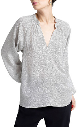 A.L.C. Jules Dotted V-Neck Long-Sleeve Silk Top