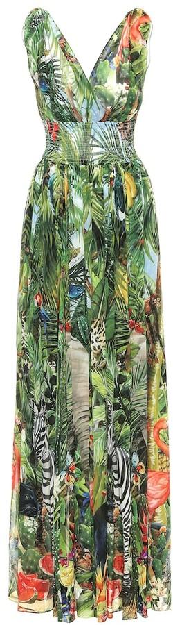 Dolce & Gabbana Printed silk-georgette maxi dress