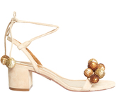 Aquazzura Disco sequinned-pompom suede sandals