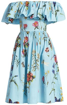 Oscar de la Renta Off-The-Shoulder Floral Day Dress