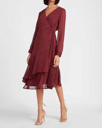 Express Metallic Clip Dot Ruffle Hem Wrap Midi Dress
