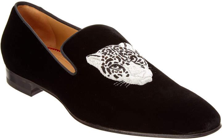 Christian Louboutin Dandeleo Tiger Embroidered Velvet Loafer